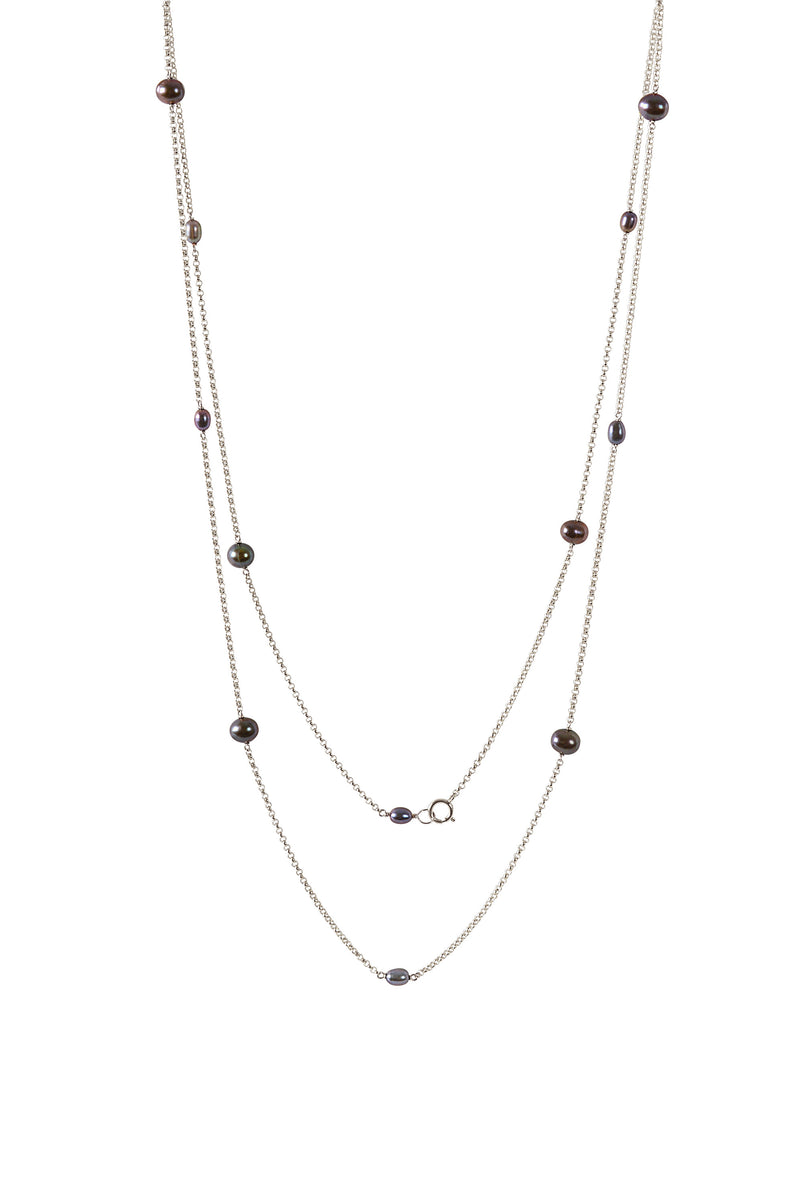 JUNO Long Pearl Necklace, Black Freshwater Pearl Necklace, Opera Length, in 14k Gold, Rose Gold or Sterling Silver