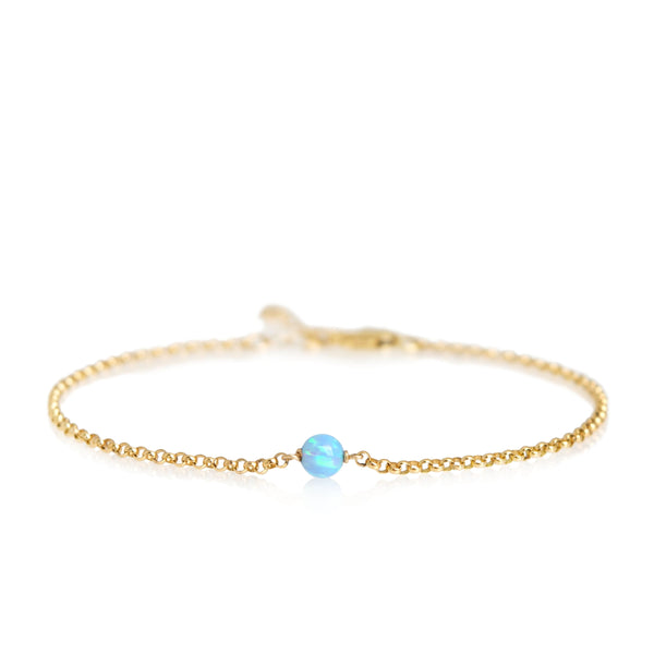 White or Blue Opal Bracelet in 14k Gold Filled, Rose Gold or Sterling Silver, Jewelry Gift for Women - October Birthstone