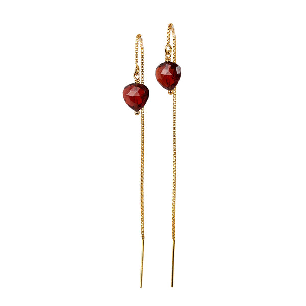 Heart Garnet Threader Earrings - January Birthstone - Red Gemstone Earrings in 14k Solid Gold, Rose Gold or Sterling Silver, Gift for Women