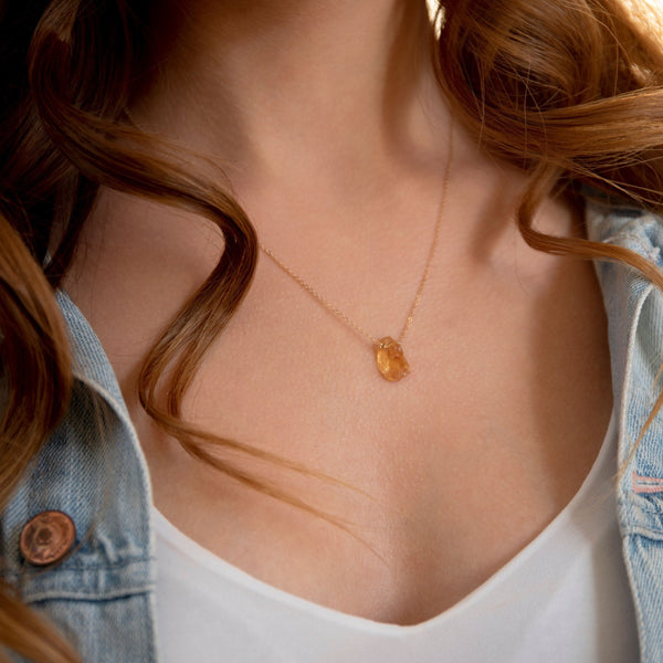 Raw Citrine necklace in Gold, Rose Gold or Sterling Silver, November Birthstone, Raw Stone, Gift for Women