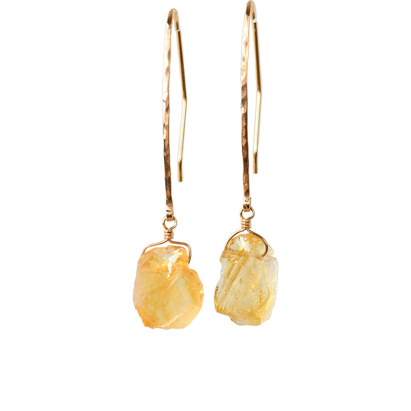 Raw Citrine Earrings, November Birthstone, Raw Stone, Yellow Crystal Gemstone in 14k Gold, Rose Gold or Sterling Silver. Gift for Women