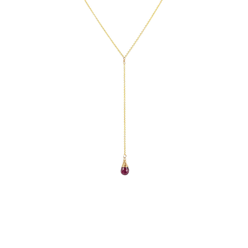 Y-Necklace with Natural Gemstone Drop in 14k Gold Filled, Rose Gold or Sterling Silver, Birthstone Necklace, Garnet Pendant, Gift for Women