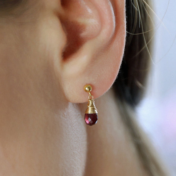 "Drop Gemstone Earrings on Ball Studs in 14k Gold Filled, 14k Rose Gold, Solid Gold or Sterling Silver, Gift for Women ""Featured"""