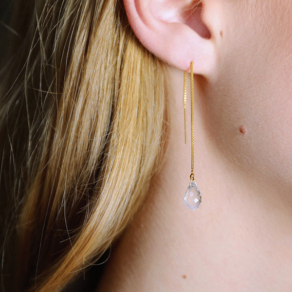 "Aquamarine Threader Earrings in 14k Solid Gold, Rose Gold or Sterling Silver - March Birthstone - ""Splash"" - Gift for Women"