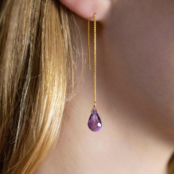 "Genuine Amethyst Threader Earrings in 14k Solid Gold, Rose Gold or Sterling Silver - February Birthstone - ""Splash"" - Gift for Women"
