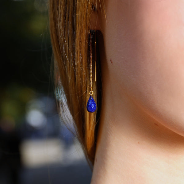 "Lapis Lazuli Threader Earrings in 14k Solid Gold, Rose Gold or Sterling Silver - September Birthstone - ""Splash"" - Gift for Women"
