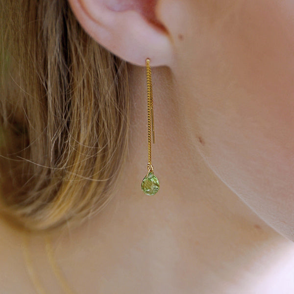 Peridot Threader Earrings - August Birthstone - Libra Gift, Green Gemstone in 14k Solid Gold, Rose Gold or Sterling Silver, Gift for Women