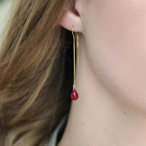 "Genuine Ruby Threader Earrings in 14k Solid Gold, Rose Gold or Sterling Silver - July Birthstone - ""Splash"" - Gift for Women"
