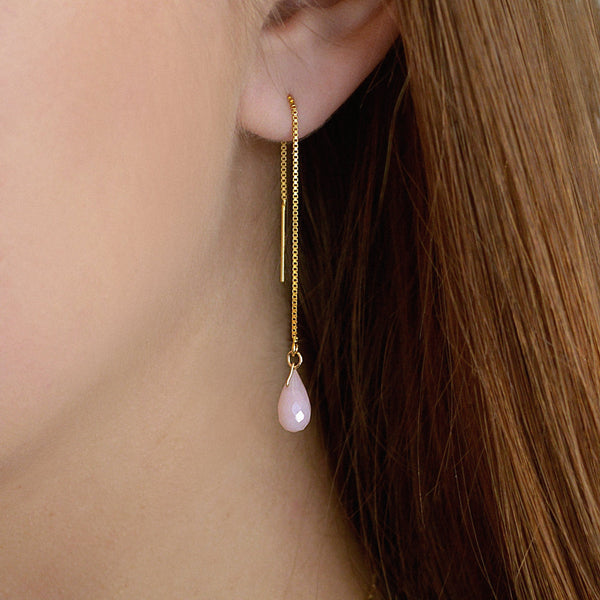 "Pink Opal Threader Earrings in 14k Solid Gold, Rose Gold or Sterling Silver - October Birthstone - ""Splash"" - Gift for Women"