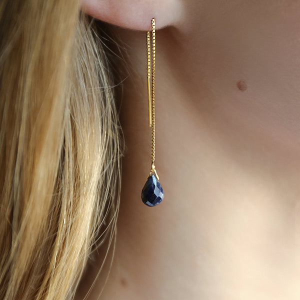 "Natural Blue Sapphire Threader Earrings in Gold, Rose Gold or Sterling Silver - September Birthstone - ""Splash"" - Gift for Women"