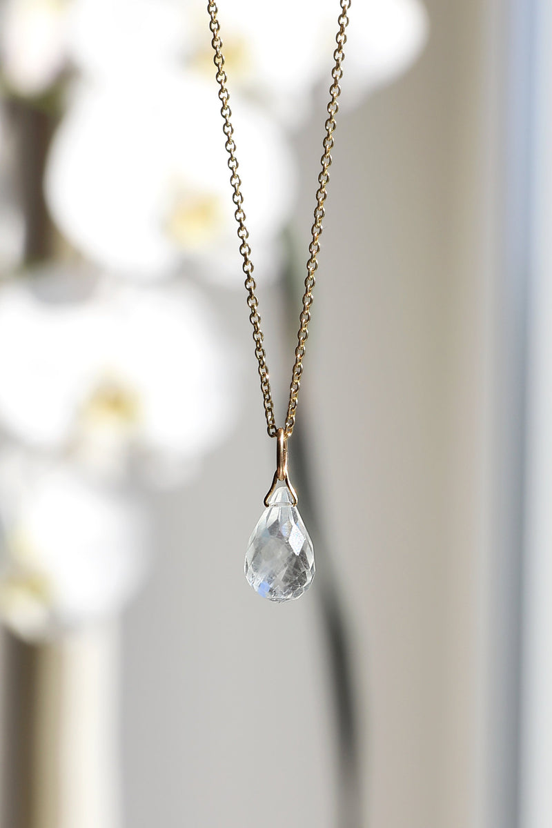 Natural Aquamarine Drop Necklace in Gold, Rose Gold or Silver - March Birthstone - Crystal Gemstone Necklace, Personalized Gift For Women