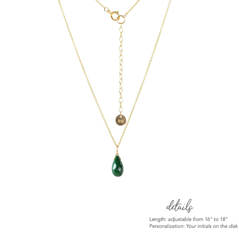 Genuine Emerald Drop Necklace in Gold, Rose Gold or Silver - May Birthstone - Crystal Gemstone Necklace, Personalized Gift For Women