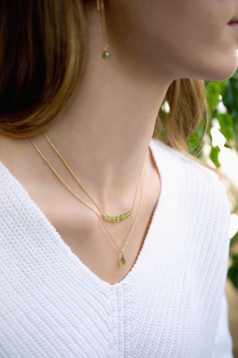 Genuine Peridot Drop Necklace in Gold, Rose Gold or Silver - August Birthstone - Crystal Gemstone Necklace, Personalized Gift For Women