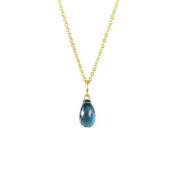London Blue Topaz Drop Necklace in Gold, Rose Gold or Silver - December Birthstone - Crystal Gemstone Necklace, Personalized Gift For Women