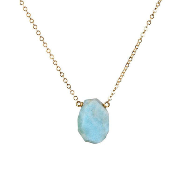 Raw Dominican Larimar necklace in Gold, Rose Gold or Sterling Silver, Raw Stone, Gift for Women