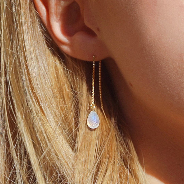 "Rainbow Moonstone Threader Earrings in 14k Solid Gold, Rose Gold or Sterling Silver - June Birthstone - ""Splash"" - Gift for Women"