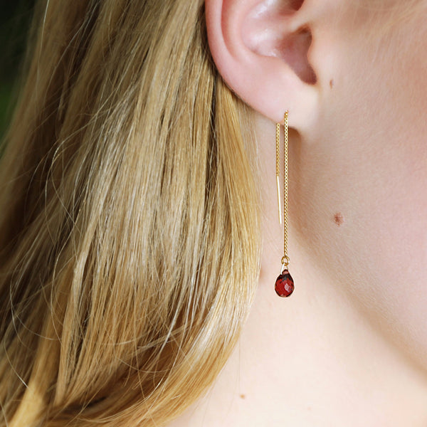 "Garnet Threader Earrings, in 14k Solid Gold, Rose Gold or Sterling Silver - January Birthstone - ""Splash"" - Gift for Women"