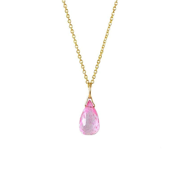 Pink Topaz Drop Necklace in Gold, Rose Gold or Silver - October Birthstone - Crystal Gemstone Necklace, Personalized Gift For Women