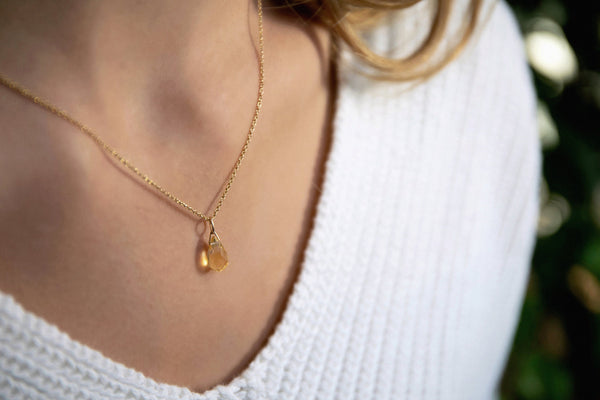 Genuine Citrine Drop Necklace in Gold, Rose Gold or Silver - November Birthstone - Crystal Gemstone Necklace, Personalized Gift For Women