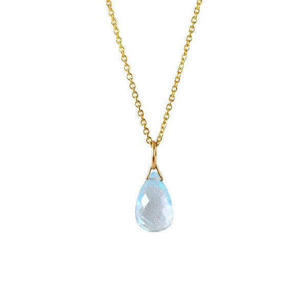 Sky Blue Topaz Drop Necklace in Gold, Rose Gold or Silver - December Birthstone - Crystal Gemstone Necklace, Personalized Gift For Women