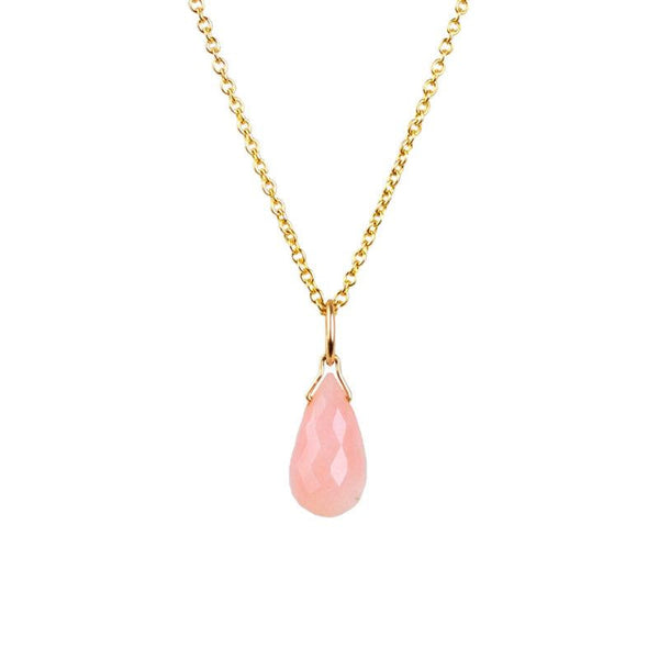 Genuine Pink Opal Drop Necklace in Gold, Rose Gold or Silver - October Birthstone - Crystal Gemstone Necklace, Personalized Gift For Women