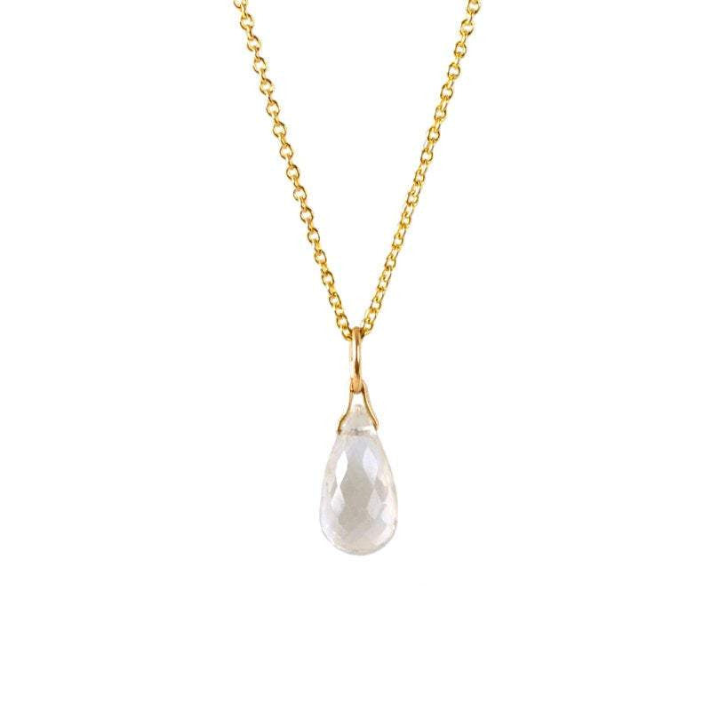 Genuine Rock Crystal Drop Necklace in Gold, Rose Gold or Silver - April Birthstone - Crystal Gemstone Necklace, Personalized Gift For Women