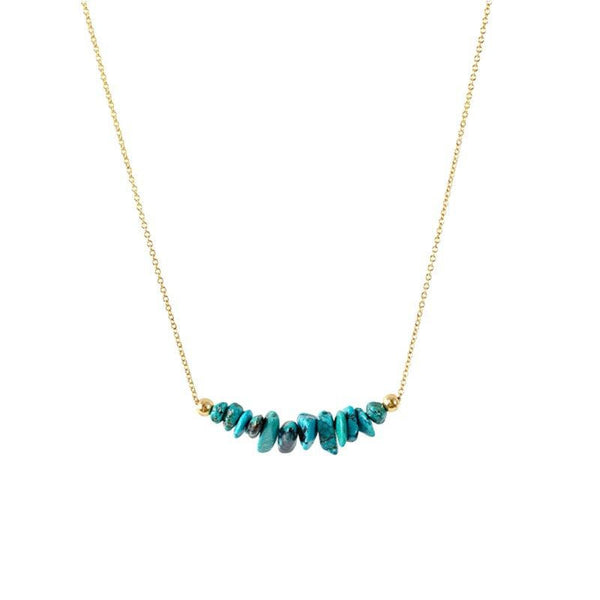 Raw Turquoise Bar Necklace in Gold - Jewlery by Boutique Baltique