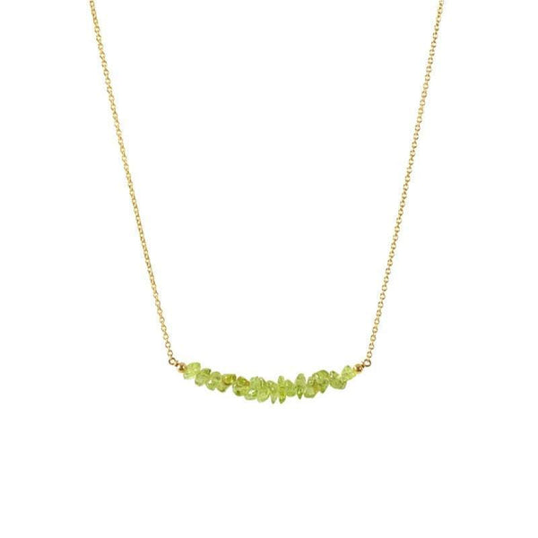Raw Peridot Bar Necklace in gold - Jewlery by Boutique Baltique