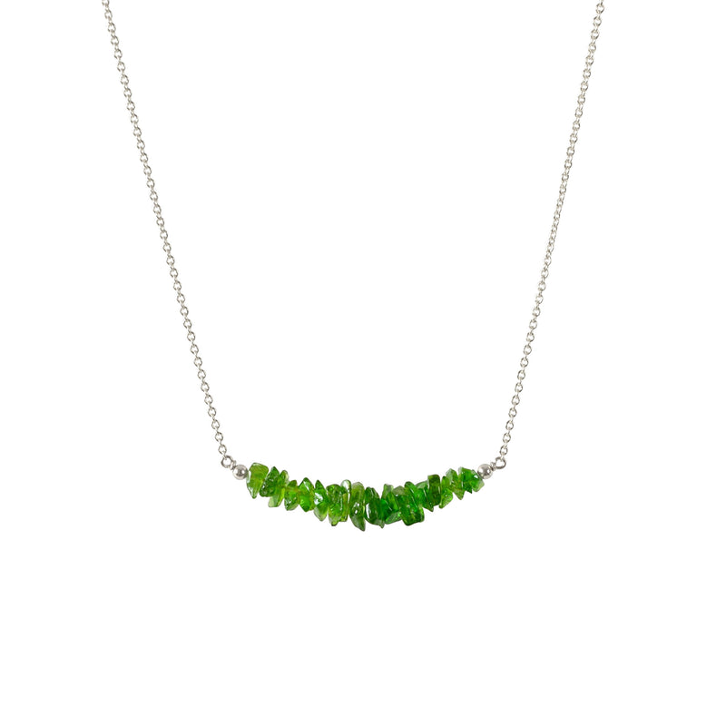 Raw Chrome Diopside Bar Necklace in Sterling Silver - Jewlery by Boutique Baltique