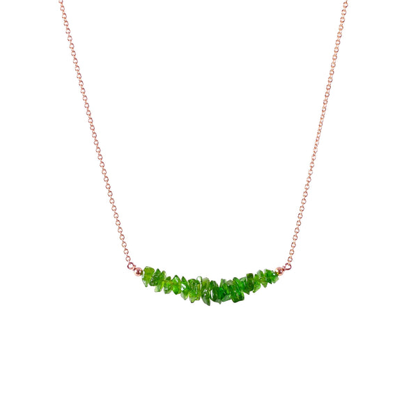 Raw Chrome Diopside  Bar Necklace in Rose Gold - Jewlery by Boutique Baltique