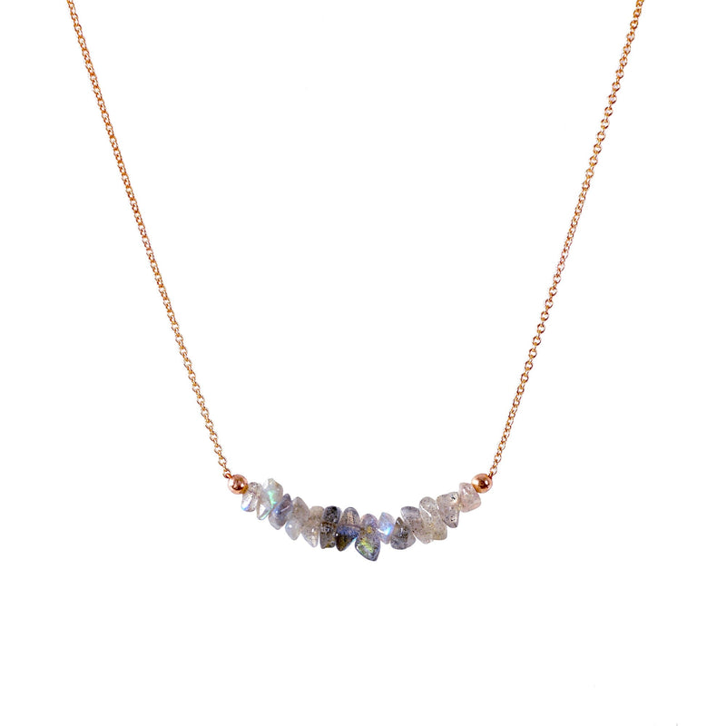 Raw Labradorite Bar Necklace in Rose Gold - Jewlery by Boutique Baltique