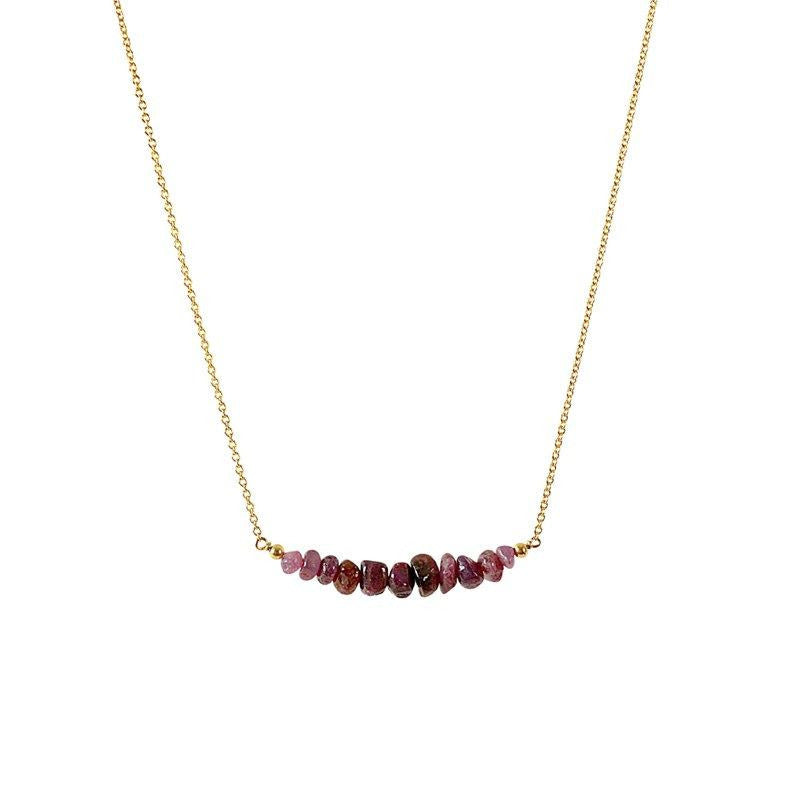 Raw Ruby Bar Necklace in Gold - Jewlery by Boutique Baltique