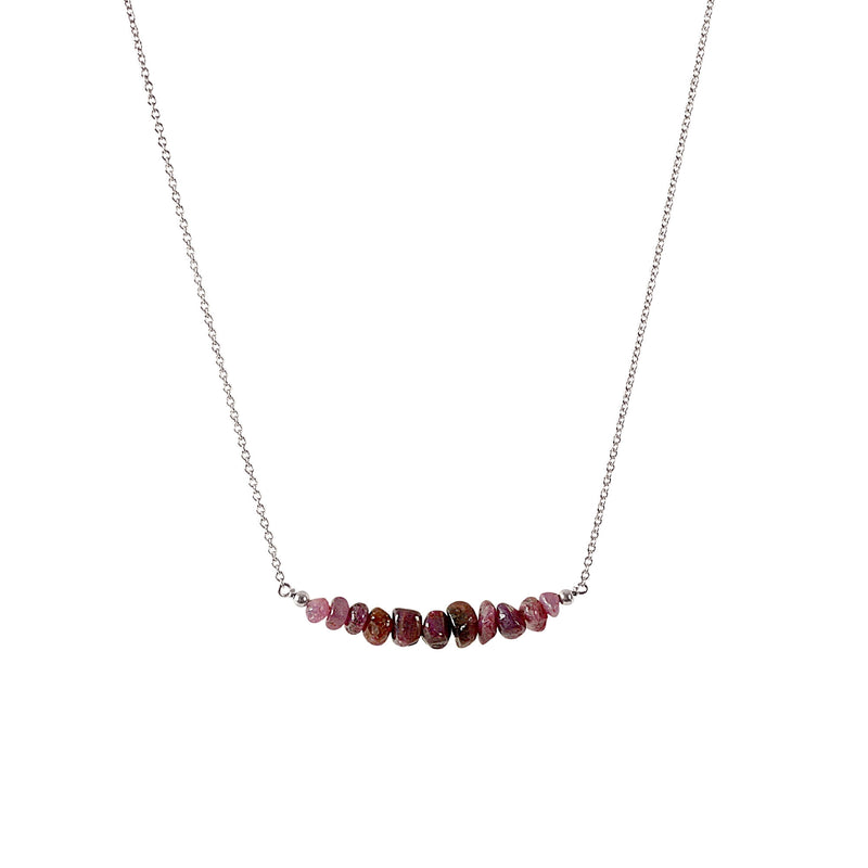 Raw Ruby  Bar Necklace in Sterling Silver - Jewlery by Boutique Baltique