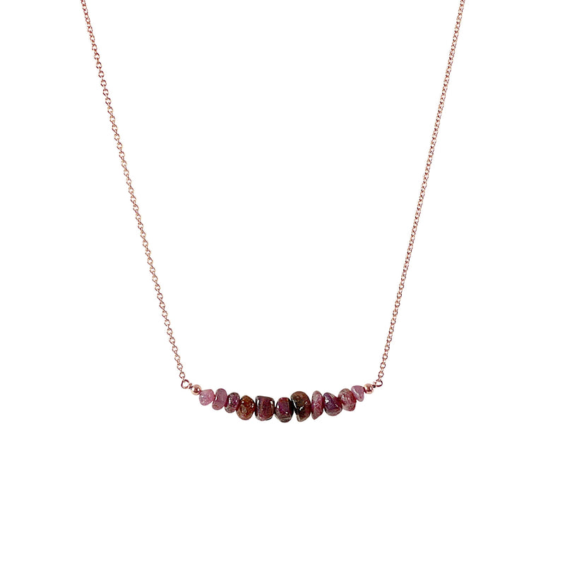 Raw Ruby Bar Necklace in Rose Gold - Jewlery by Boutique Baltique