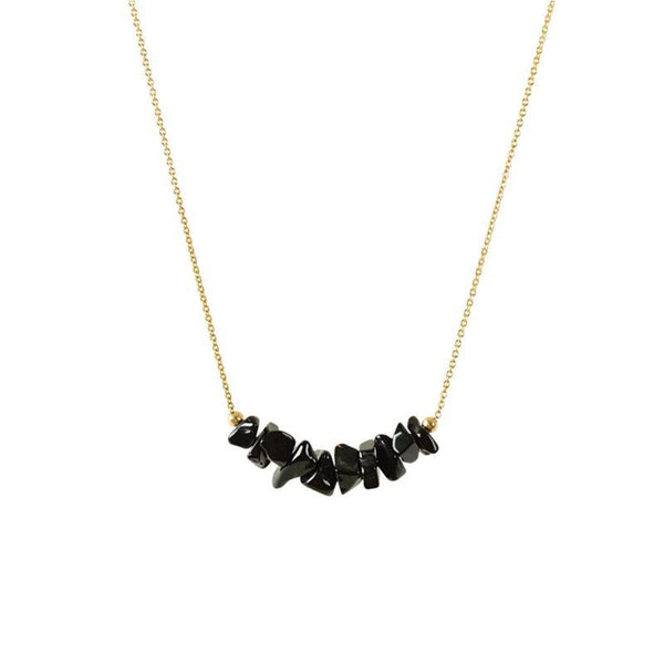 Raw Black Tourmaline Bar Necklace in Gold - Jewlery by Boutique Baltique
