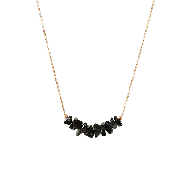 Raw Black Tourmaline Bar Necklace in Rose Gold - Jewlery by Boutique Baltique