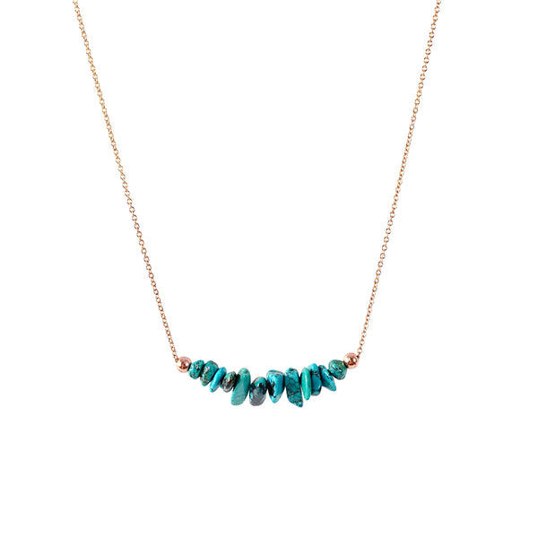 Raw Turquoise Bar Necklace in Rose Gold - Jewlery by Boutique Baltique