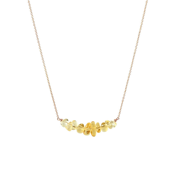 Raw Citrine Bar Necklace in rose gold - Jewlery by Boutique Baltique