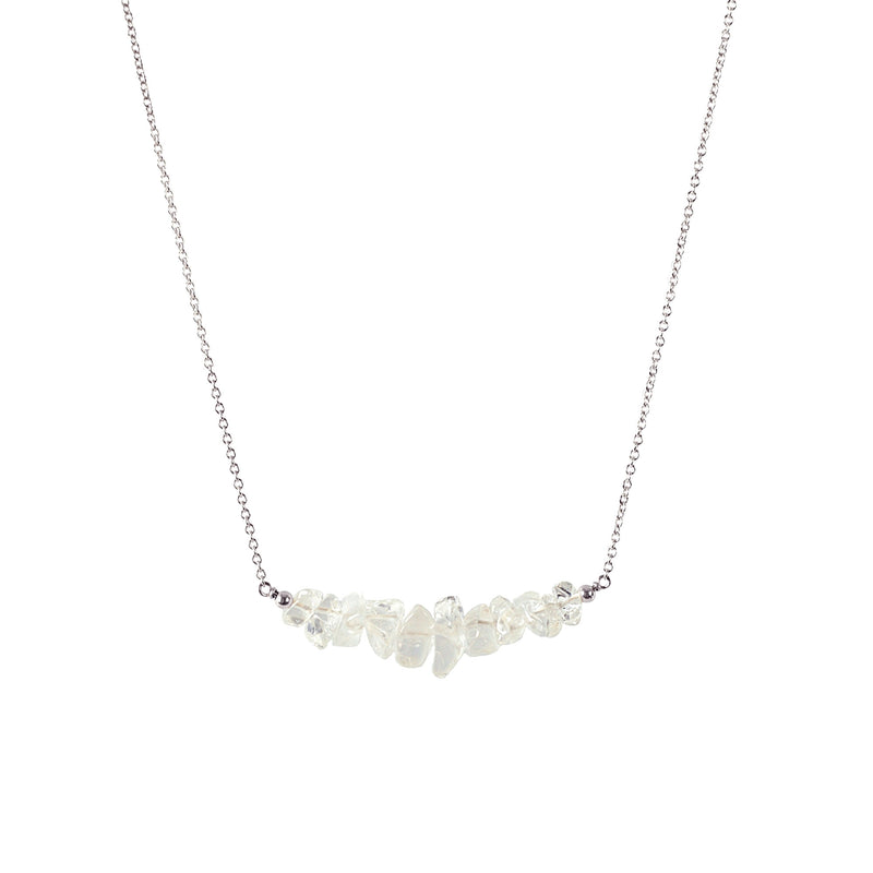 Raw Rock Crystal Bar Necklace in sterling silver - Jewlery by Boutique Baltique