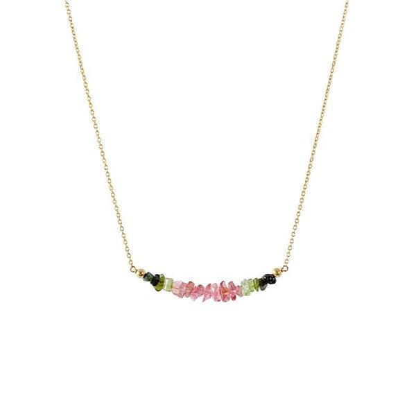 Raw Watermelon Tourmaline Bar Necklace in gold - Jewlery by Boutique Baltique