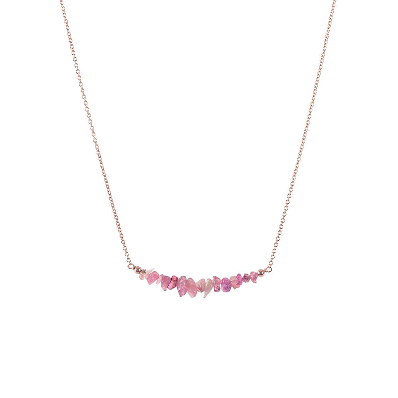 Raw Pink Tourmaline Bar Necklace in Rose Gold - Jewlery by Boutique Baltique