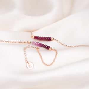 ombre ruby anklet with initial