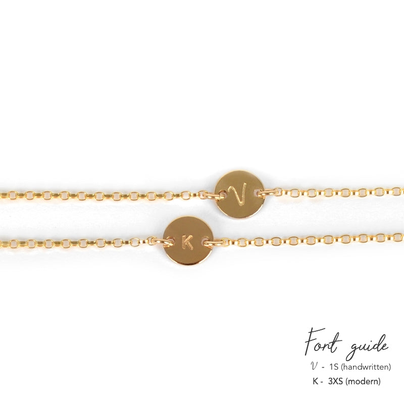 Dainty personalized Initial Disc Bracelet in gold, rose gold or Sterling Silver