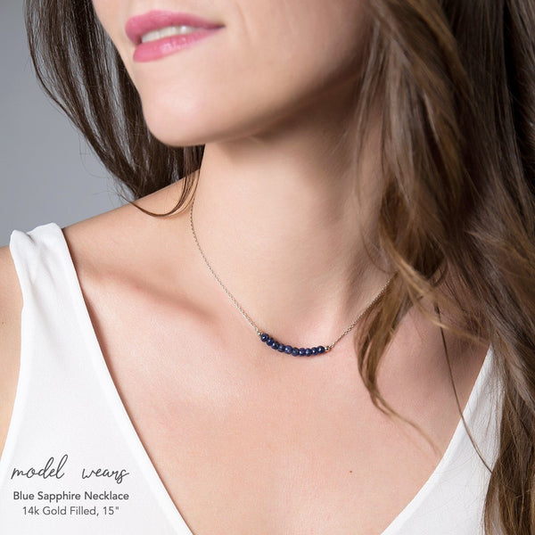 Blue Sapphire Bar Necklace - Boutique Baltique