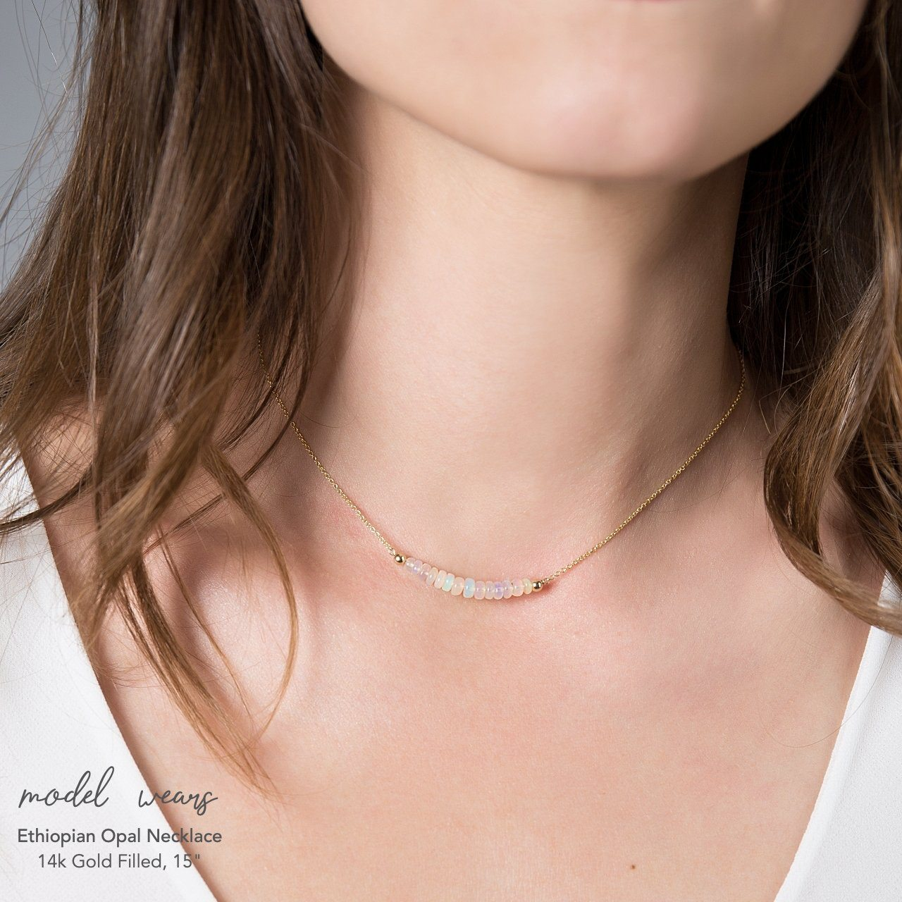 Ethiopian Opal Bar Necklace - Boutique Baltique