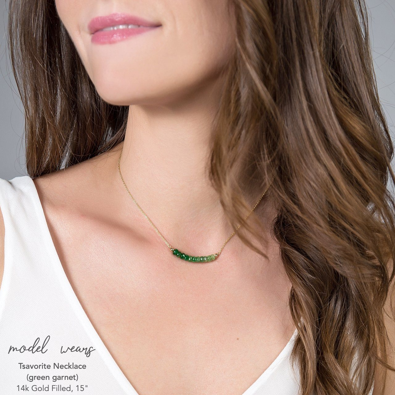 Green Garnet Bar Necklace - Tsavorite - Boutique Baltique
