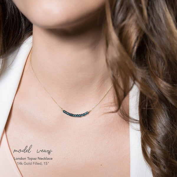 London Blue Topaz Bar Necklace - Boutique Baltique