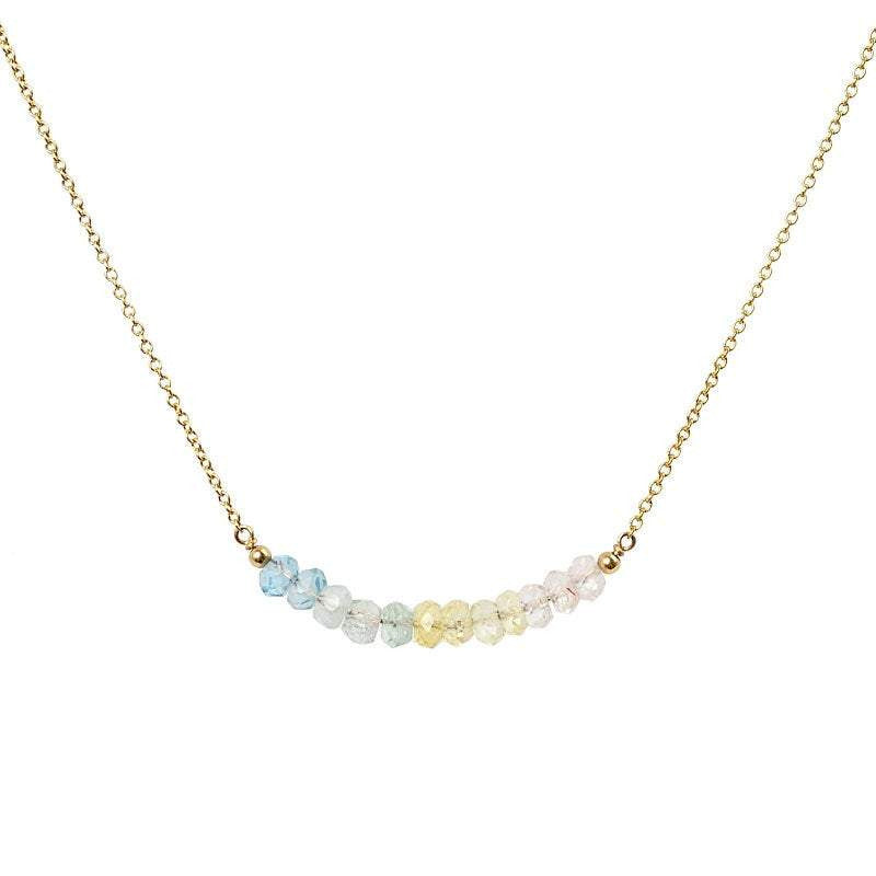 Multi Aquamarine Bar Necklace - Boutique Baltique