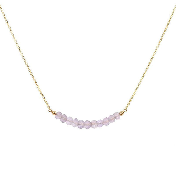 Pink Amethyst Bar Necklace - Boutique Baltique