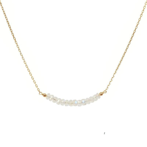 Rainbow Moonstone Bar Necklace - Boutique Baltique